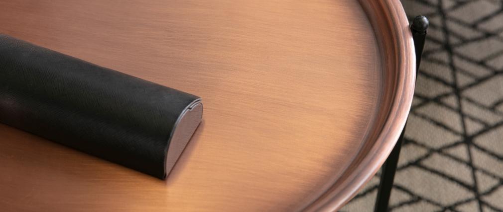 Mesa auxiliar diseño redonda metal cobre LUZ