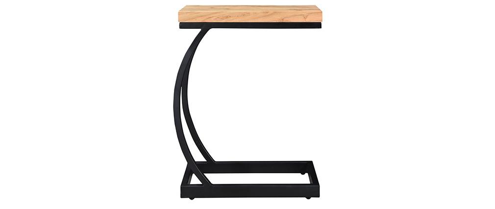 Mesa auxiliar en acacia y metal negro BREAK