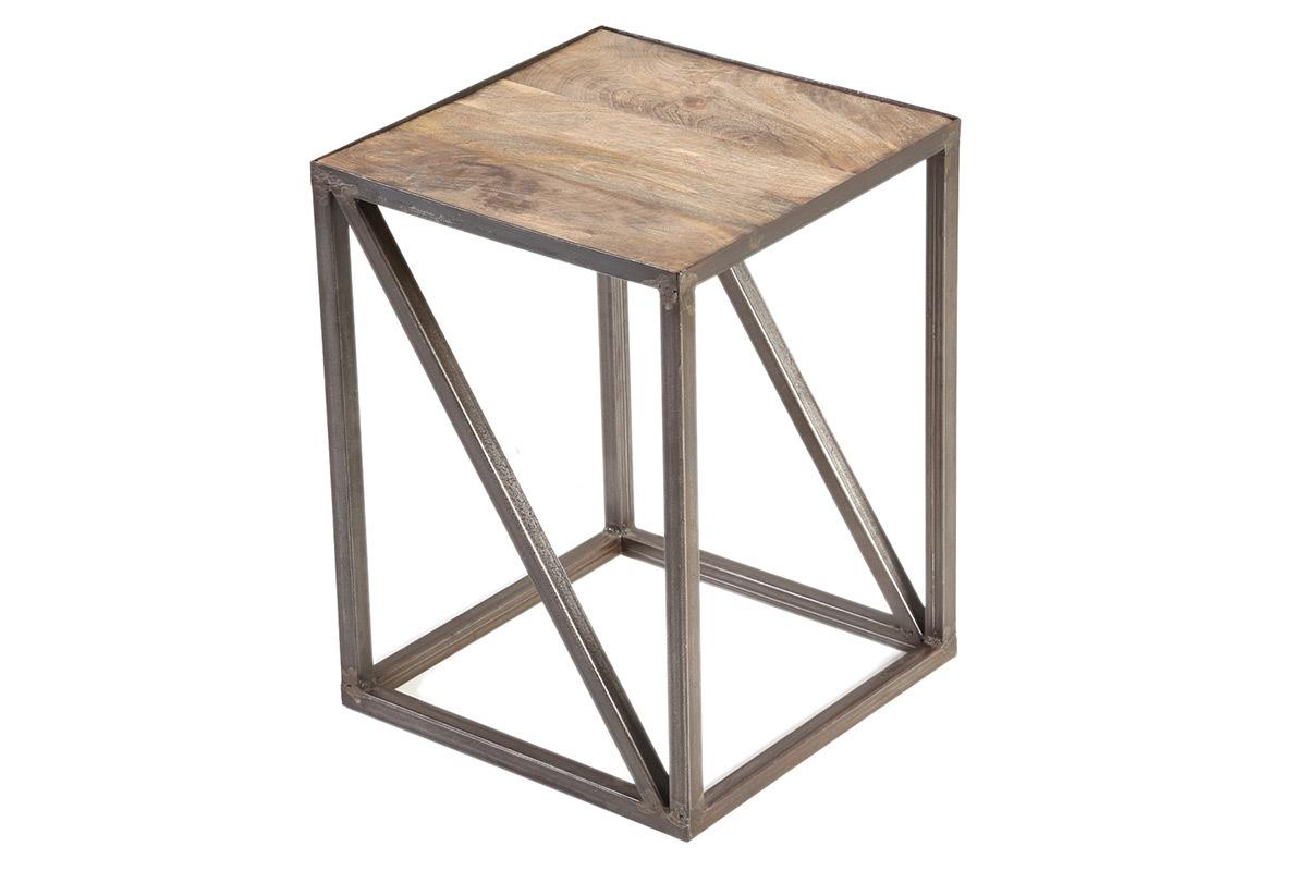 Mesa auxiliar estilo industrial de madera y metal atelier - Mesa madera industrial ...