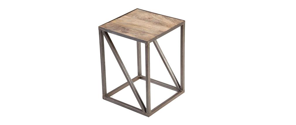 Mesa auxiliar estilo industrial de madera y metal ATELIER