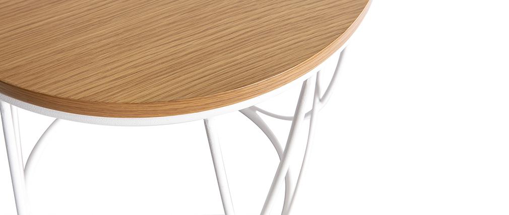 Mesa auxiliar madera y metal blanco 42 cm LACE