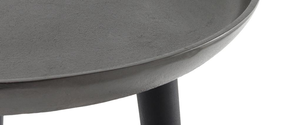 Mesa auxiliar metal y patas madera negra LINTA