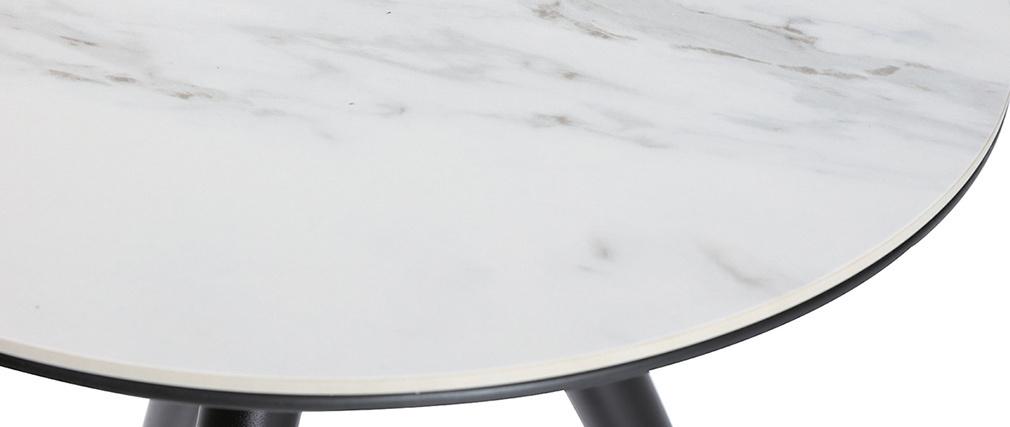 Mesa auxiliar moderna efecto mármol con patas madera y oro ALLURE