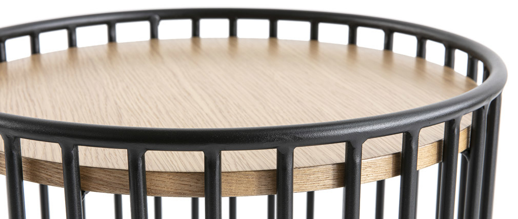 Mesa auxiliar moderna madera clara y metal HARP