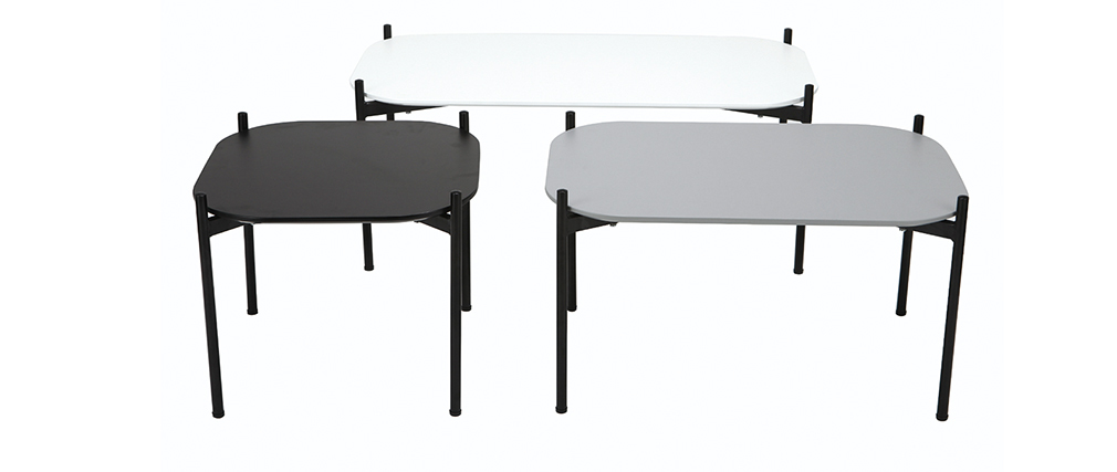 Mesa auxiliar moderna metal negro 50x50cm SEGA