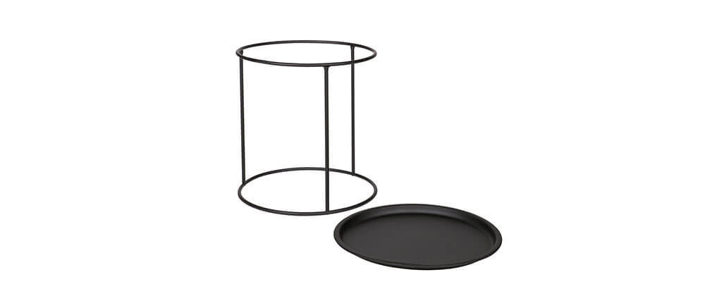Mesa auxiliar redonda en metal negra 40cm ABEL