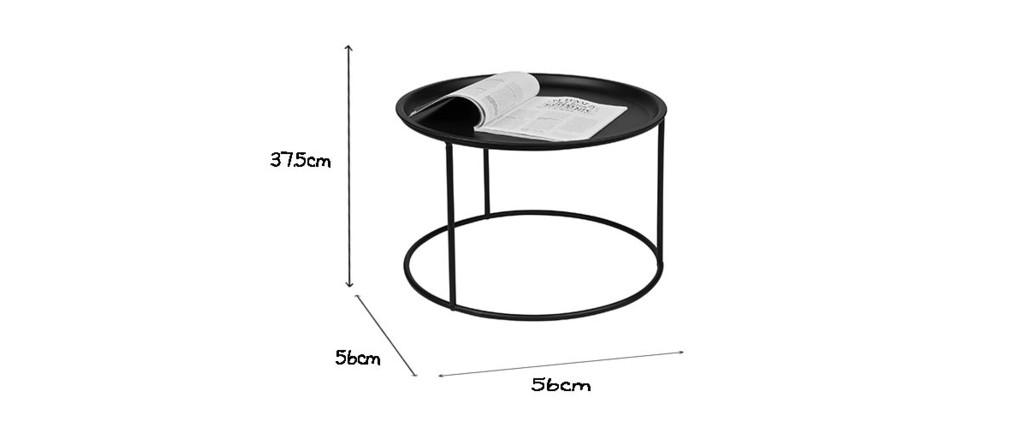 Mesa auxiliar redonda en metal negra 56cm ABEL