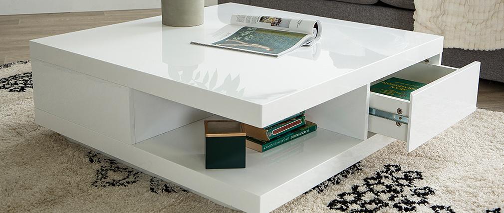 Mesa baja diseño 2 cajones blanca KARY