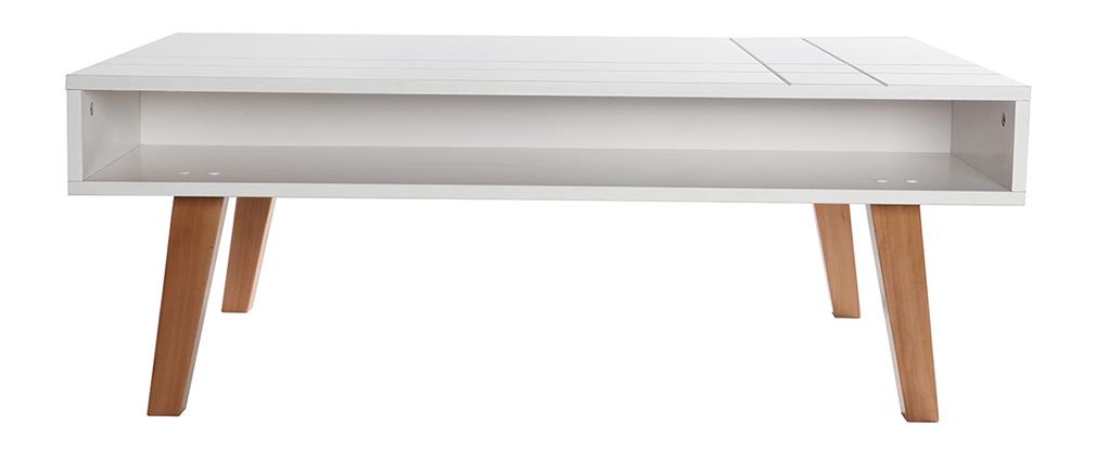 Mesa baja diseño lacado blanco mate y madera ADORNA