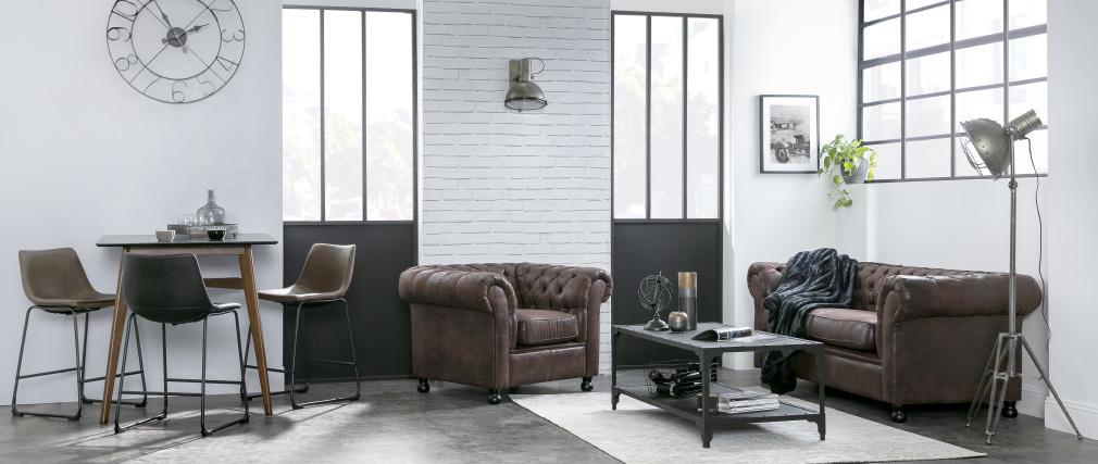 Mesa baja diseño metal negro 120 cm FACTORY