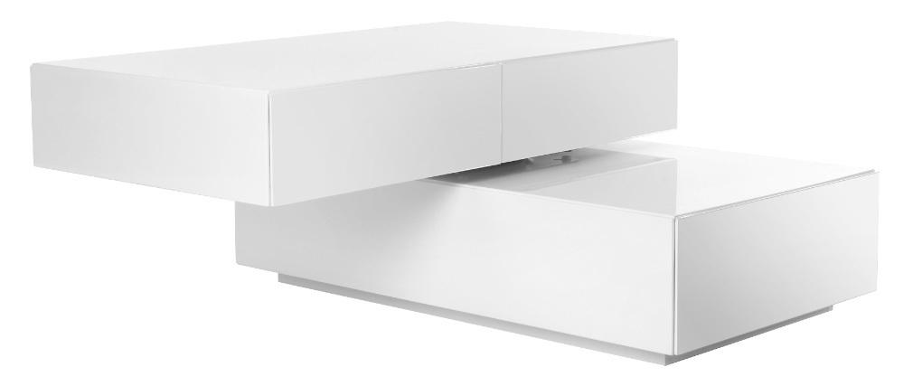 Mesa baja diseño pivotante 4 cajones blanca ELEA