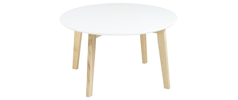 Mesa baja diseño redonda 80cm blanco mate  SARA
