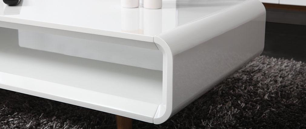 Mesa baja escandinava blanco brillante y fresno MELKA