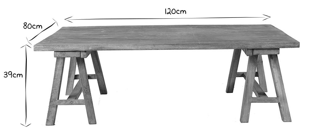 Mesa baja industrial de madera ANTIQUA