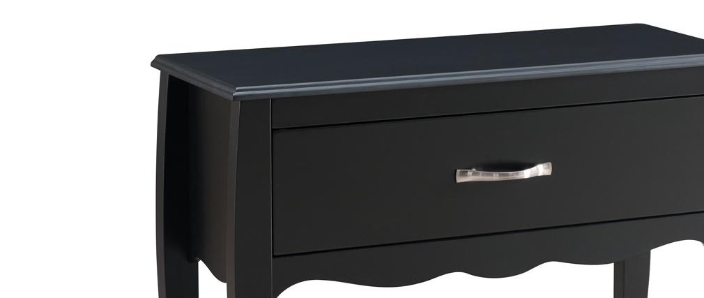 Mesa consola diseño clásico lacado negra 1 cajón MARGOT