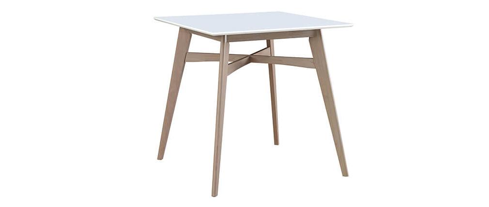 Mesa de bar cuadrada madera tablero blanco LEENA