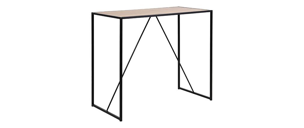 Mesa de bar en madera y patas en metal negro TRESCA
