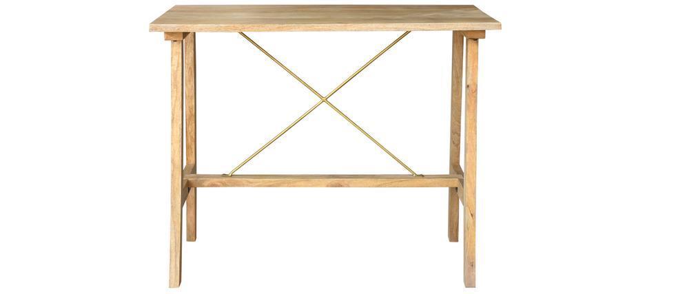 Mesa de bar en mango macizo y metal dorado L130 cm MARGHA