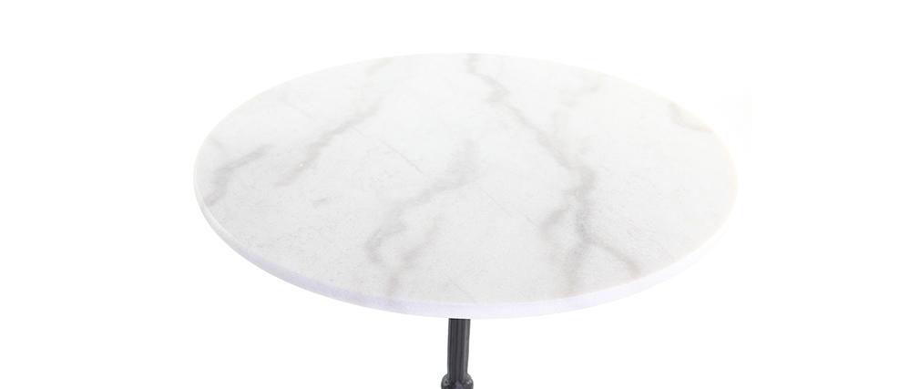 Mesa de bar mármol blanco y metal negro CONTY