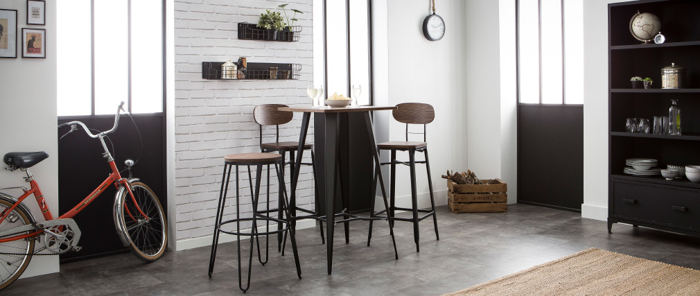 Mesa de bar metal negro HOCKER