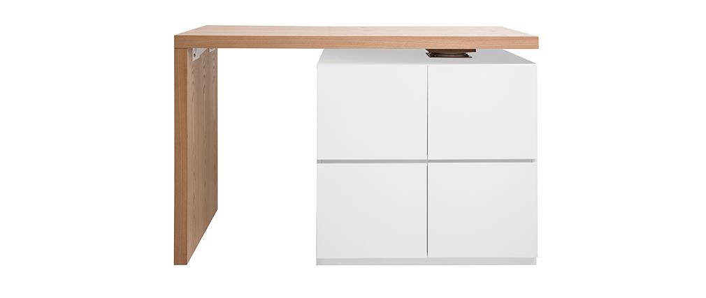 Mesa de bar modulable con almacenaje blanco mate y roble A91 cm MAX