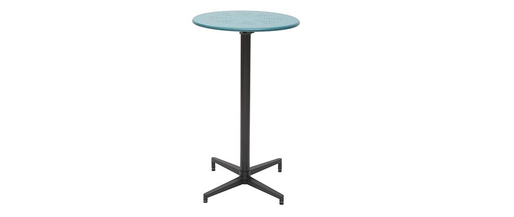 Mesa de bar plegable redonda en metal azul petróleo DOTS