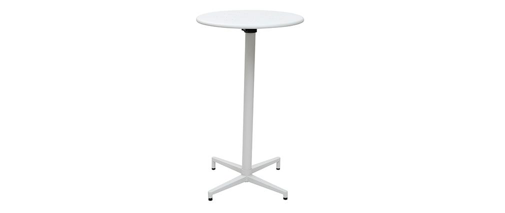 Mesa de bar plegable redonda en metal blanco DOTS