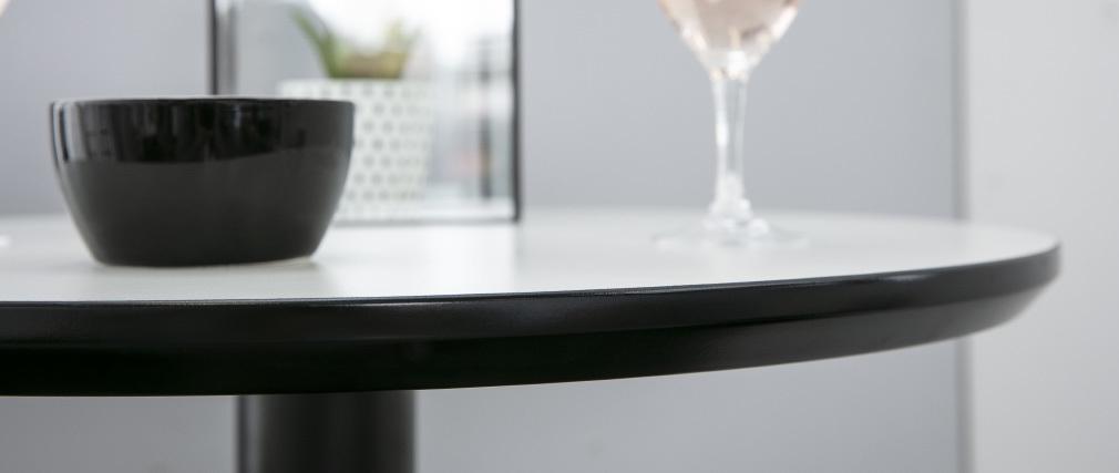 Mesa de bar redonda blanca y negra PENCO