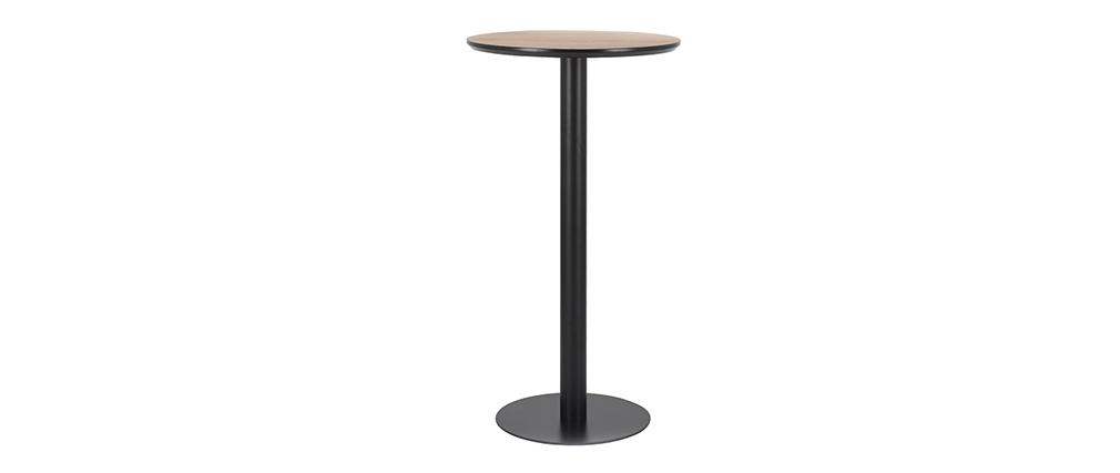 Mesa de bar redonda madera y negra PENCO