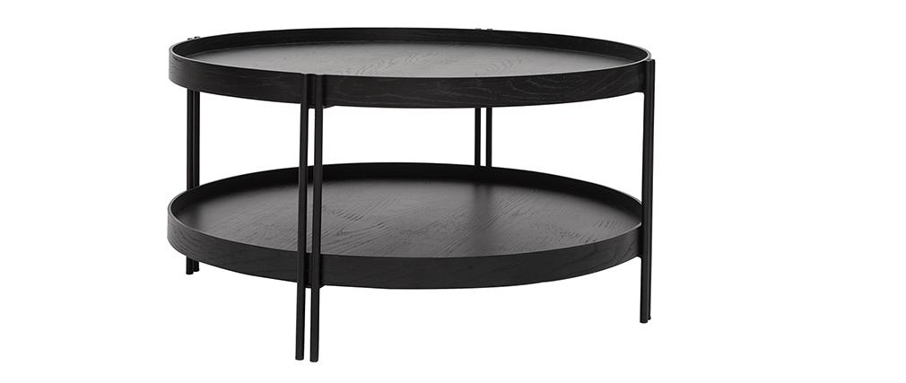 Mesa de centro acabado roble negro y metal D80 cm TWICE