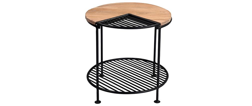 Mesa de centro acacia y metal negro PART