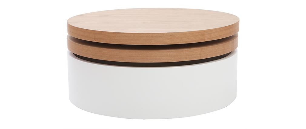 Mesa de centro con tableros pivotantes y almacenaje blanca y madera ICON