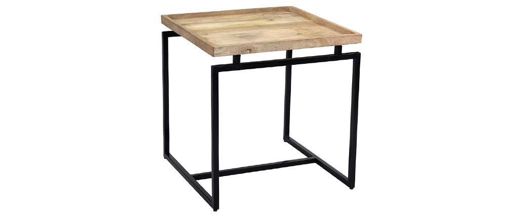 Mesa de centro cuadrada en mango y metal negro L55 cm FRAME