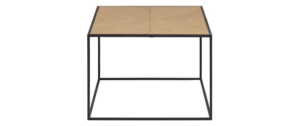 Mesa de centro cuadrada madera y metal negro 60 cm KARE
