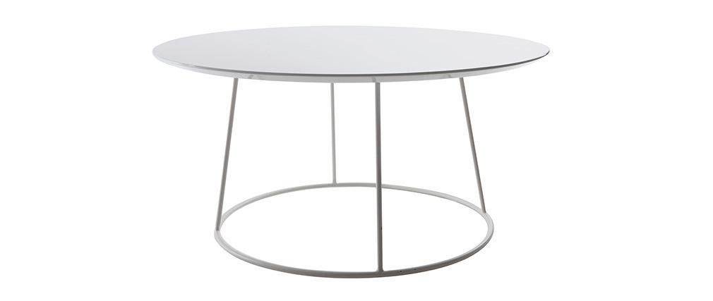 Mesa de centro de diseño color blanco KALY