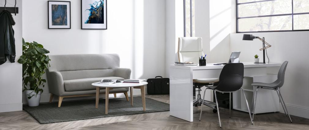 Mesa de centro de diseño lacada blanca y madera natural LARGO