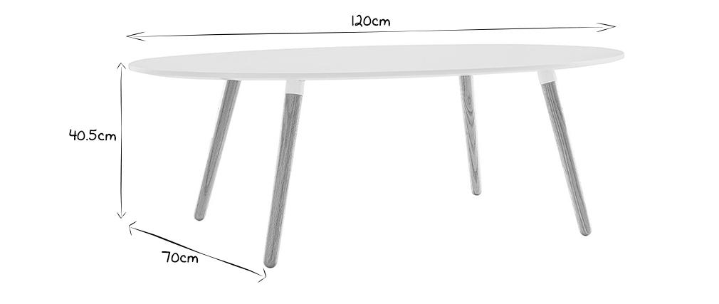 Mesa de centro de diseño natural y blanco GILDA