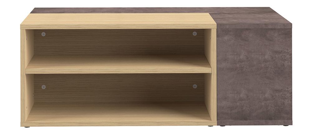 Mesa de centro de esquina moderna madera y gris imitación cemento QUADRA