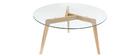 Mesa de centro diseño contemporáneo cristal y madera DAVOS