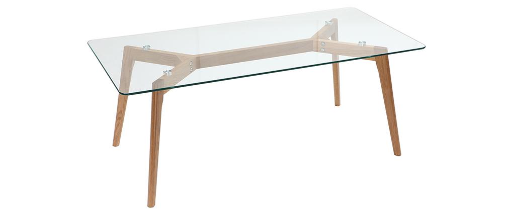 Mesa de centro diseño contemporáneo cristal y roble DAVOS