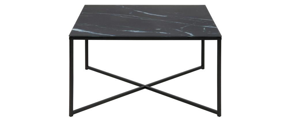 Mesa de centro efecto mármol negro patas metal ALCINO