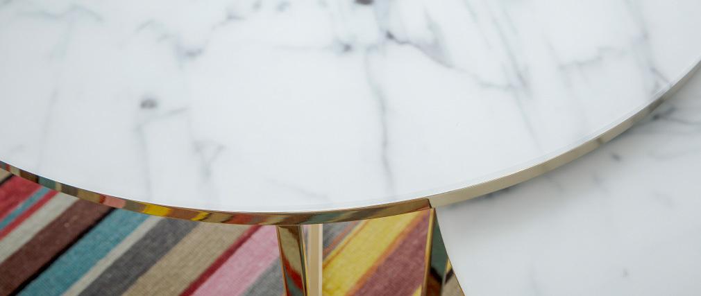 Mesa de centro efecto mármol y patas metal 80cm SILAS
