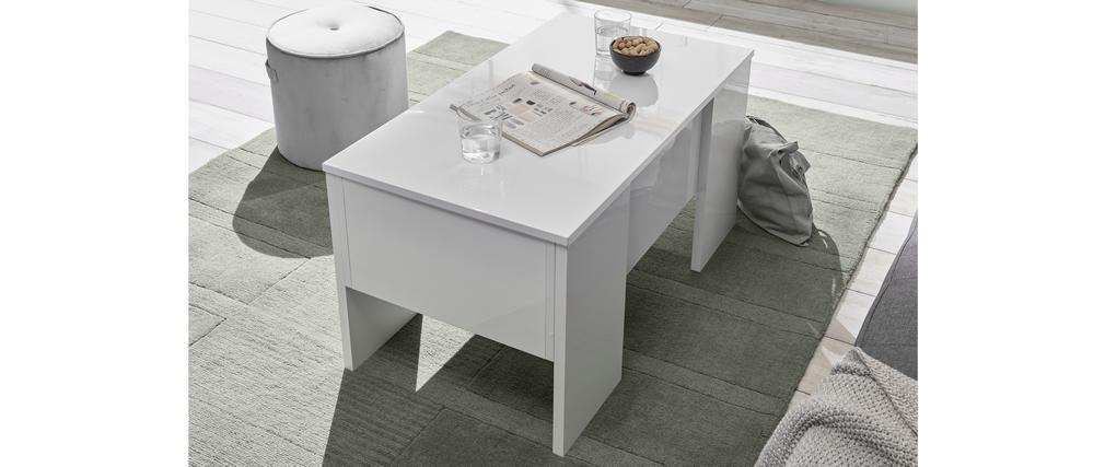 Mesa de centro elevable blanco lacado brillante L92 cm COMO