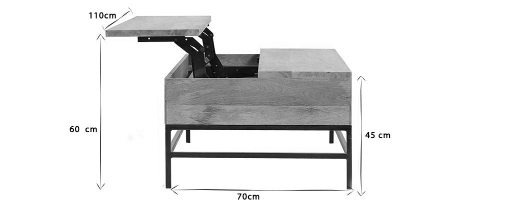 Mesa de centro elevable industrial mango y metal 110cm YPSTER
