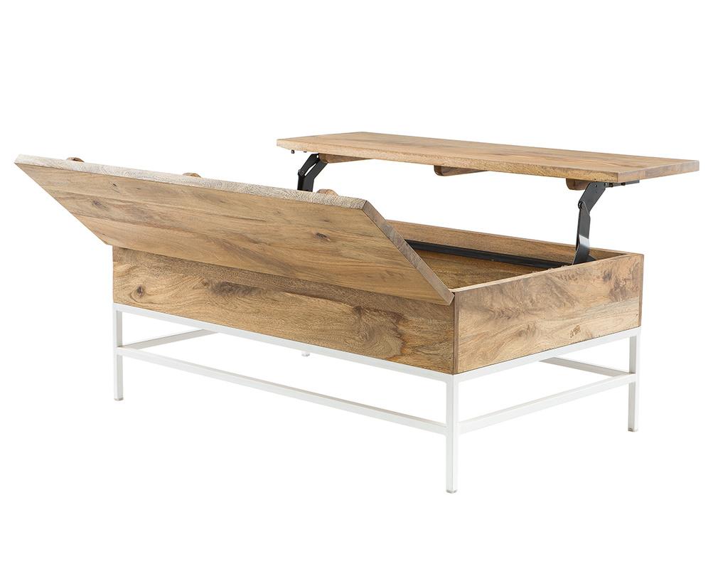Mesa de centro elevable mango y metal blanco BOHO