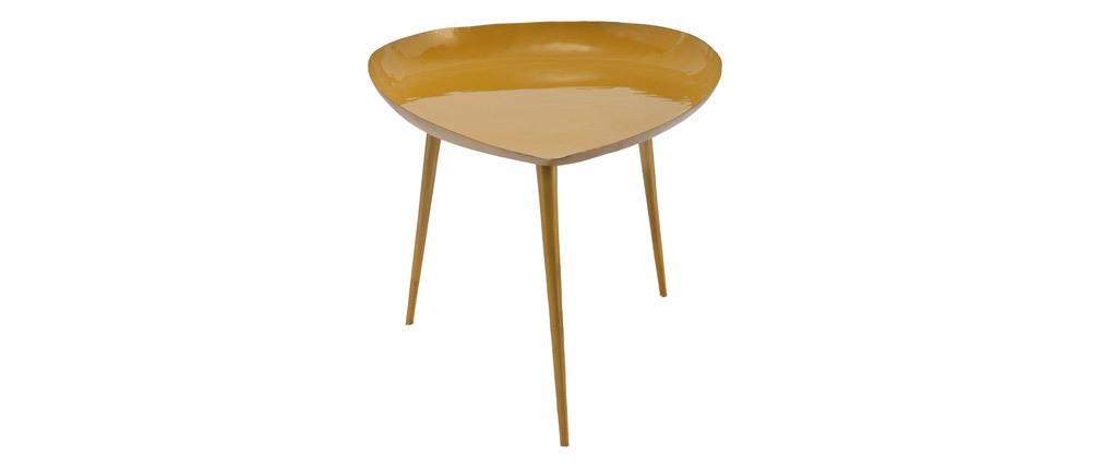 Mesa de centro en acero lacada amarillo DROP