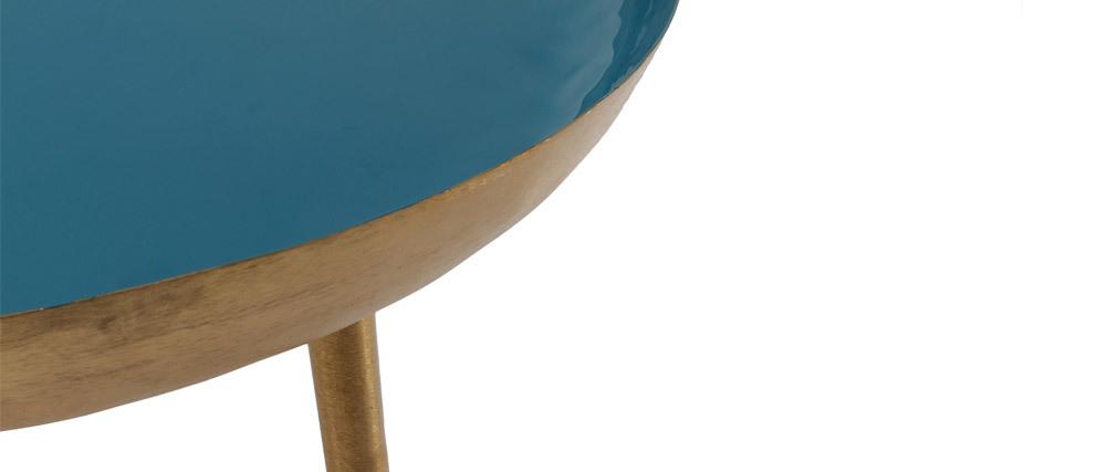 Mesa de centro en acero lacada azul petróleo DROP