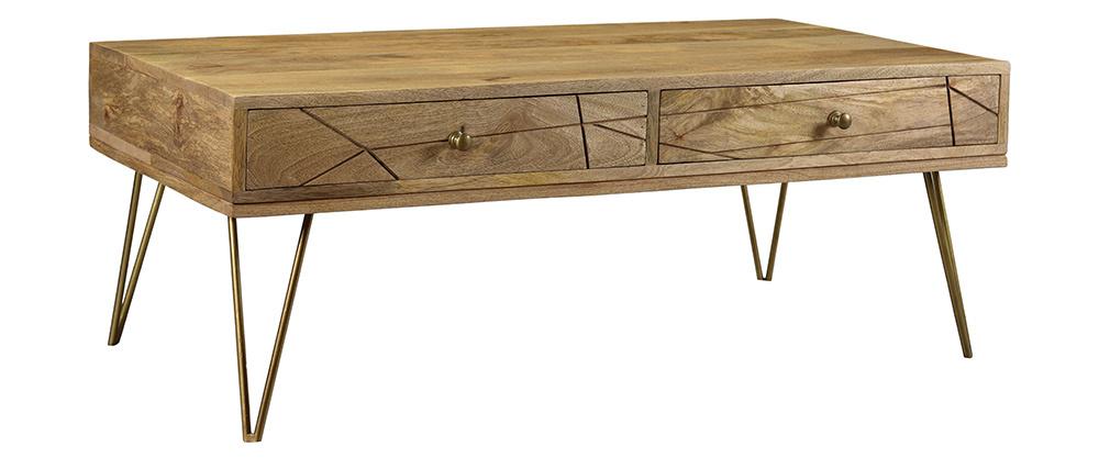 Mesa de centro en mango y metal dorado LINIUM
