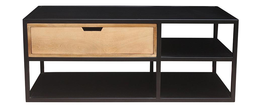 Mesa de centro en mango y metal negro JAIPUR