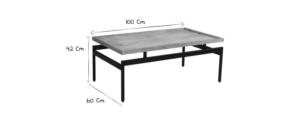 Mesa de centro en mangoy metal negro L100 cm FRAME
